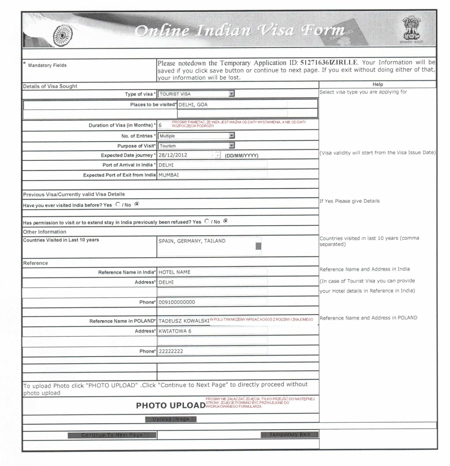 online visa application form